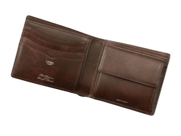 二つ折り財布 オイルシェルコードバン&シラサギレザー